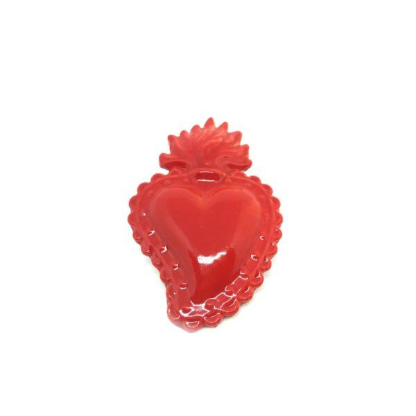 Cuore Ex Voto rosso in ceramica smaltata