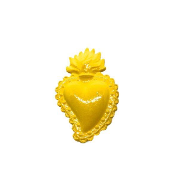 Cuore Ex Voto giallo in ceramica smaltata