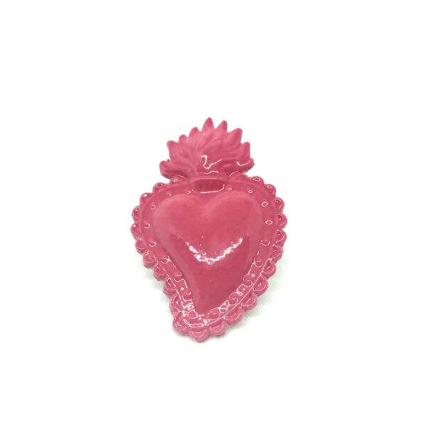 Cuore Ex Voto rosa in ceramica smaltata